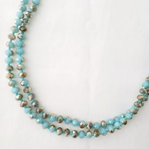 Jewelry - Turquoise Facet Beaded Rope Necklace